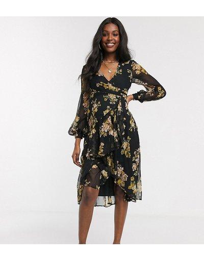 Multicolore donna Vestito midi a portafoglio a maniche lunghe nero a fiori con gonna a doppio strato - ASOS DESIGN Maternity - Multicolore