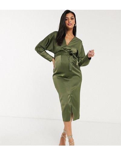 Verde donna Vestito midi a portafoglio con maniche ad ali di pipistrello in raso kaki - ASOS DESIGN Maternity - Verde