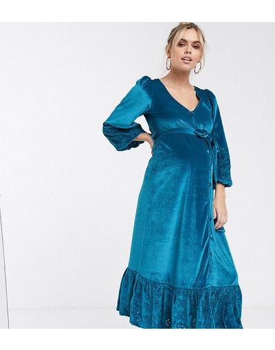 Blu donna Vestito midi a portafoglio in pizzo e velluto verde acqua - ASOS DESIGN Maternity - Blu