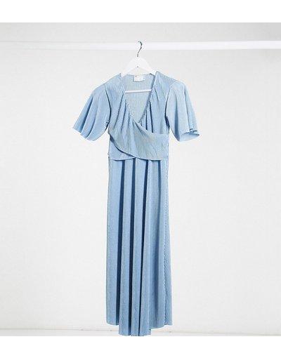 Blu donna Vestito midi a portafoglio plissé per allattamento con maniche ad ali di pipistrello e cintura da annodare blu - ASOS DESIGN Maternity