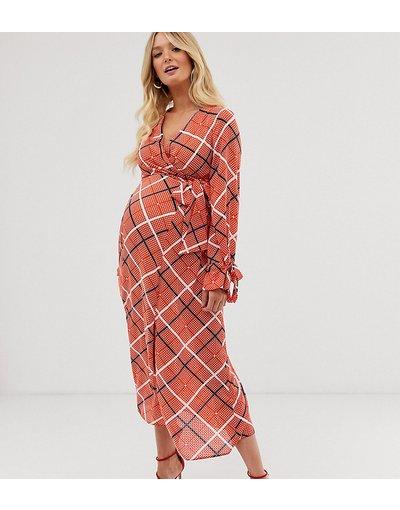 Multicolore donna Vestito midi a portafoglio testurizzato a quadri - ASOS DESIGN Maternity - Multicolore