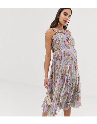 Multicolore donna Vestito midi accollato a fiori estivi con pieghe - ASOS DESIGN Maternity - Multicolore