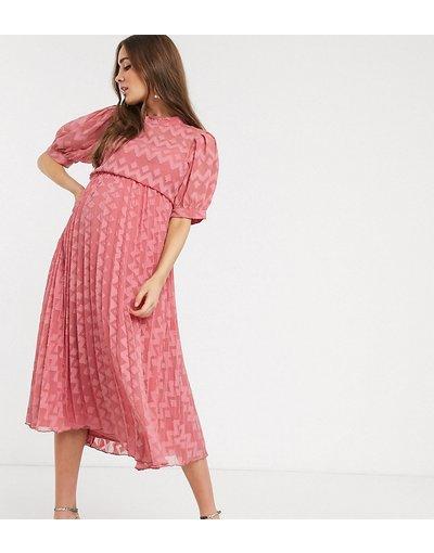 Rosa donna Vestito midi accollato a pieghe in tessuto plumetis a spina di pesce con maniche a sbuffo rosa tea - ASOS DESIGN Maternity