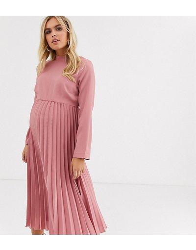 Rosa donna Vestito midi accollato a pieghe rosa tea - ASOS DESIGN Maternity