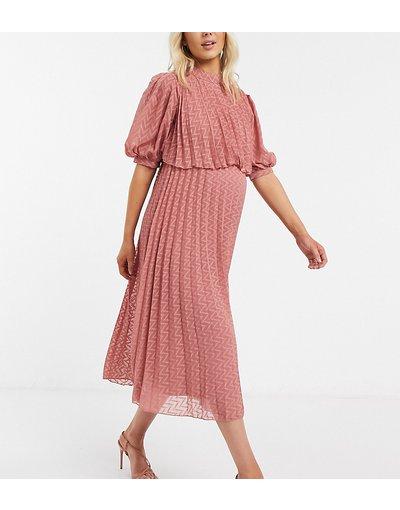 Rosa donna Vestito midi accollato doppio strato a pieghe in tessuto a pallini con motivo a spina di pesce color rosa tea - ASOS DESIGN Maternity