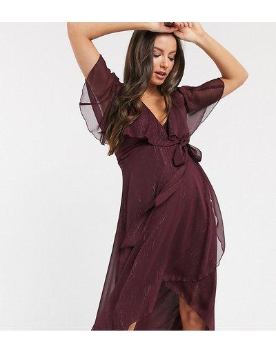 Viola donna Vestito midi asimmetrico a righe metallizzate con retro a mantella - ASOS DESIGN Maternity - Viola