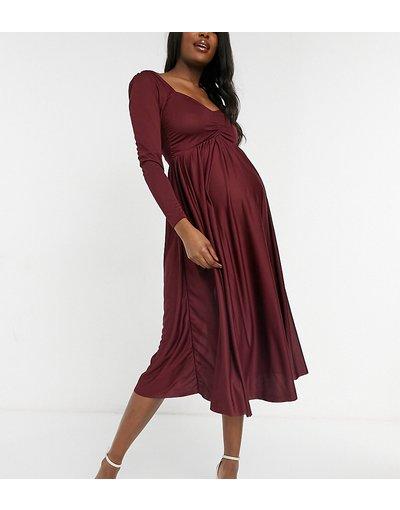 Maternita Rosso donna Vestito midi color mora con maniche lunghe e ruches sul davanti - ASOS DESIGN Maternity - Rosso