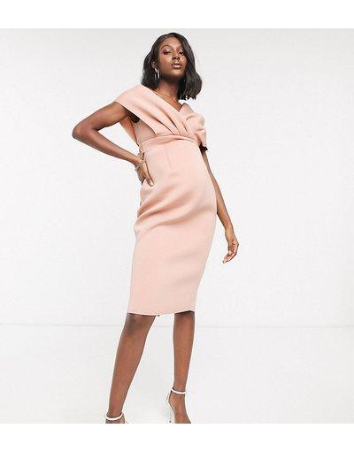 Nero donna Vestito midi con spalle scivolate allacciato sul retro rosa - ASOS DESIGN Maternity - Nero