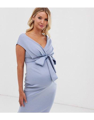Blu donna Vestito midi con spalle scivolate e laccetto - ASOS DESIGN Maternity - Blu