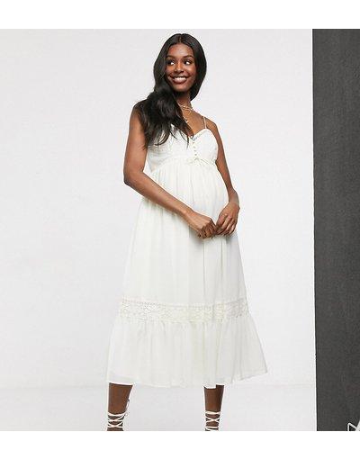 Bianco donna Vestito midi con spalline sottili bottoni e inserti in pizzo color avorio - ASOS DESIGN Maternity - Bianco