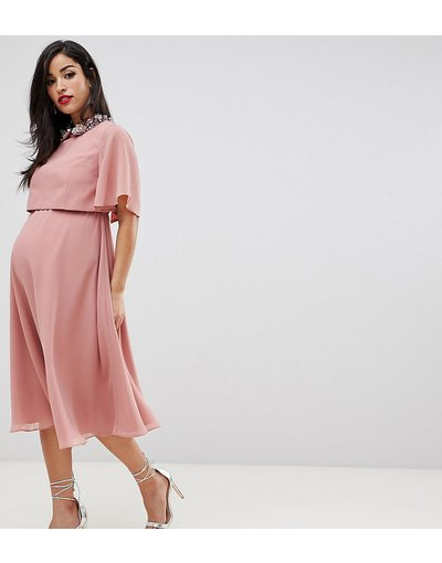 Rosa donna Vestito midi con top corto e colletto con decorazioni 3D - ASOS DESIGN Maternity - Rosa