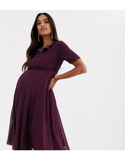 Viola donna Vestito midi con top corto e scollo decorato - ASOS DESIGN Maternity - Viola