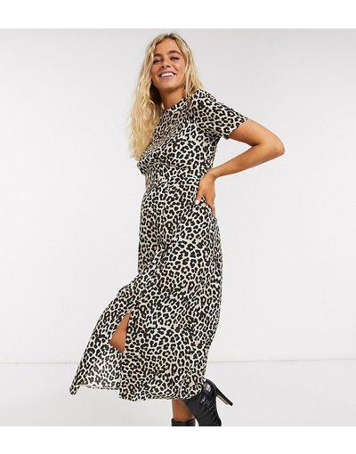 Multicolore donna Vestito midi da giorno con bottoni, spacco e stampa leopardata - ASOS DESIGN Maternity - Multicolore