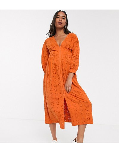 Maternita Arancione donna Vestito midi in pizzo arancione con gancetti - ASOS DESIGN Maternity moda abbigliamento