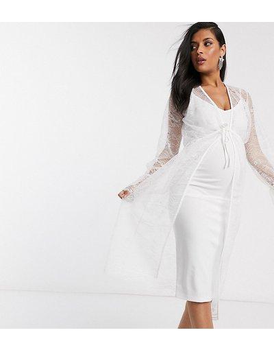 Maternita Bianco donna Vestito midi stile vestaglia in pizzo bianco - ASOS DESIGN Maternity