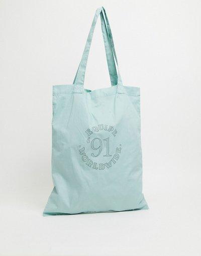 Borsa Verde uomo Maxi borsa con scritta stile college verde pastello - ASOS DESIGN