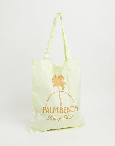 Borsa Giallo uomo Maxi borsa giallo limone con stampaPalm Beach- ASOS DESIGN