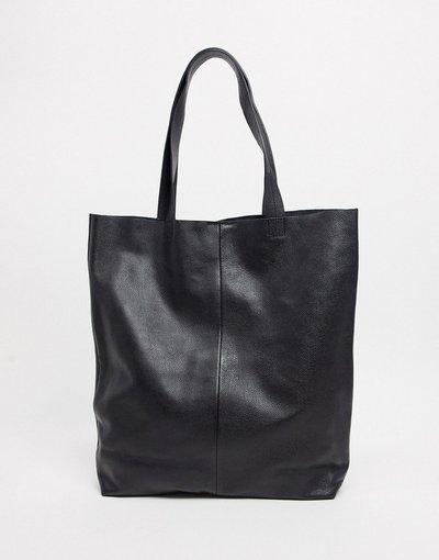 Borsa Nero uomo Maxi borsa in pelle nera - ASOS DESIGN - Nero