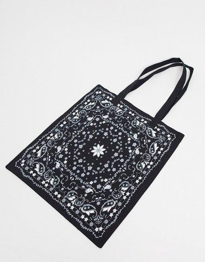 Borsa Nero uomo Maxi borsa in tela nera con stampa stile bandana - ASOS DESIGN - Nero