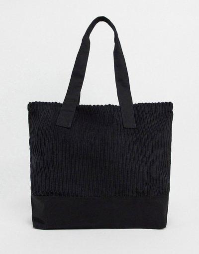 Borsa Nero uomo Maxi borsa in tessuto a coste nera - ASOS DESIGN - Nero