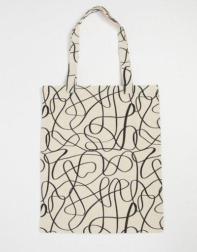 Borsa Beige uomo Maxi borsa in tessuto pesante color naturale con stampa stilizzata - ASOS DESIGN - Beige