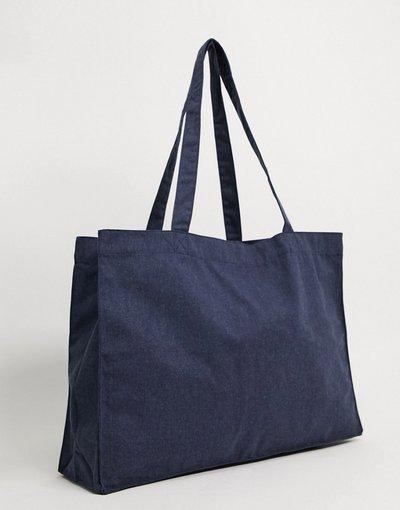 Borsa Navy uomo Maxi borsa oversize in tela blu denim - ASOS DESIGN - Navy