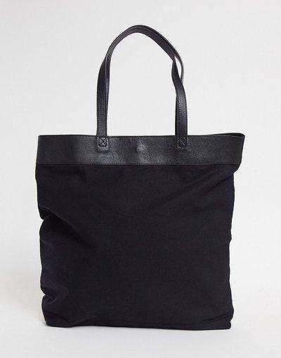 Borsa Nero uomo Maxi borsa oversize in tela nera e pelle - ASOS DESIGN - Nero
