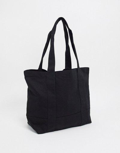 Borsa Nero uomo Maxi borsa oversize in tela nera pesante - ASOS DESIGN - Nero