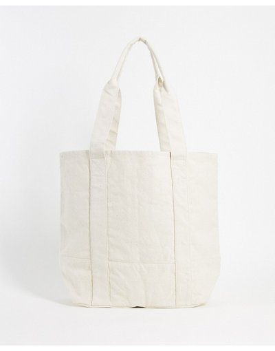 Borsa Beige uomo Maxi borsa oversize in tela pesante bianco sporco - ASOS DESIGN - Beige