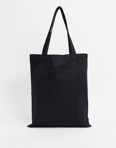 Borsa Nero uomo Borsa shopping in tessuto pesante nera - ASOS DESIGN - Nero
