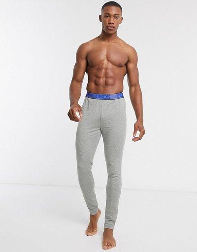 Pigiami Grigio uomo Meggings del pigiama grigio mélange con vita blu testurizzata con logo - ASOS DESIGN