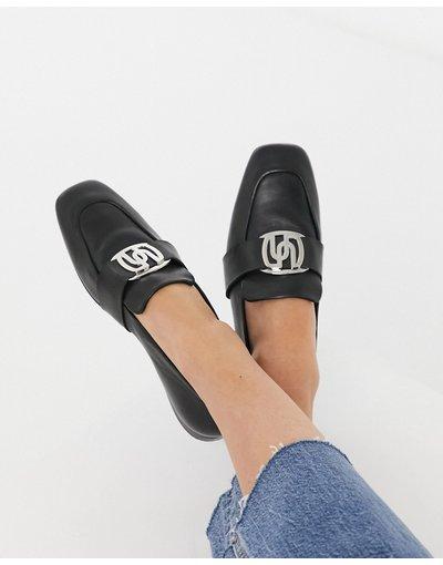 Scarpa bassa Nero donna Mocassini di pelle nera con dettagli in metallo - ASOS DESIGN - Mellow - Nero