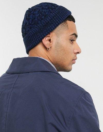 Cappello Blu navy uomo Mini berretto da pescatore intrecciato blu navy e nero - ASOS DESIGN