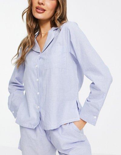 Pigiami Blu donna Camicia del pigiama in cotone a righe blu e bianco - Mix and Match - ASOS DESIGN