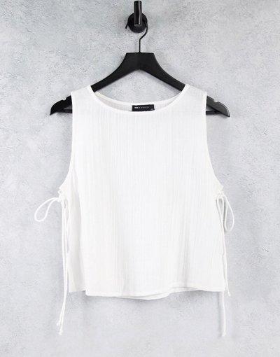 Pigiami Bianco donna Canottiera del pigiama in garza di cotone bianca con laccetti sui lati - Mix and Match - ASOS DESIGN - Bianco
