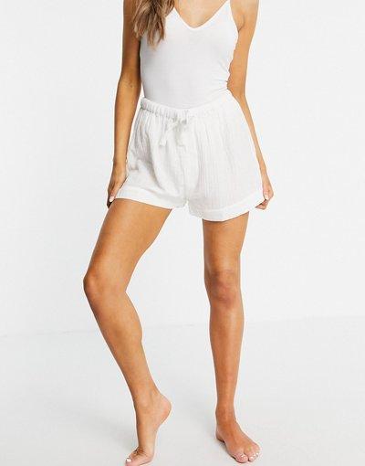 Pigiami Bianco donna Pantaloncini del pigiama in garza di cotone bianco - Mix and Match - ASOS DESIGN
