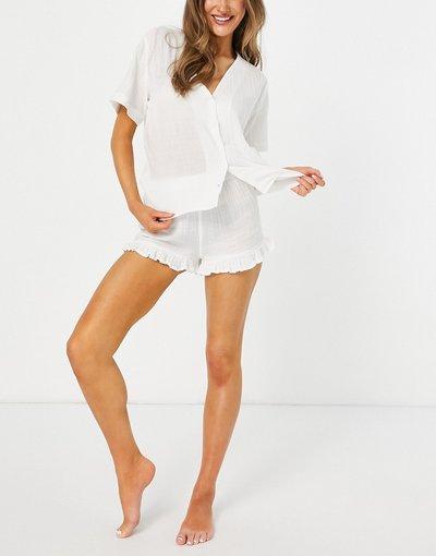Pigiami Bianco donna Pantaloncini del pigiama in garza di cotone con volant bianchi - Mix and Match - ASOS DESIGN - Bianco