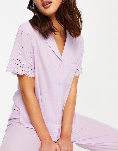 Pigiami Viola donna Camicia del pigiama in pizzo lilla - Mix&Match - ASOS DESIGN - Viola