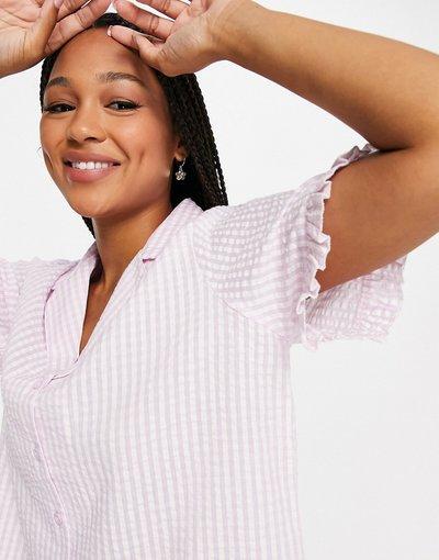 Pigiami Rosa donna Camicia del pigiama in seersucker rosa a quadretti con volant - Mix&Match - ASOS DESIGN