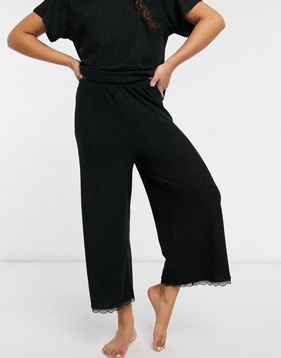 Pigiami Nero donna Gonna pantalone del pigiama in jersey a coste con inserto in pizzo nero - Mix&Match - ASOS DESIGN