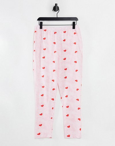 Pigiami Rosa donna Leggings del pigiama tie - dye rosa con cuori - Mix&Match - ASOS DESIGN