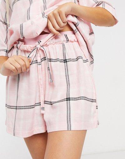 Pigiami Rosa donna Pantaloncini del pigiama con elastico in vita in jacquard rosa a quadri - Mix&Match - ASOS DESIGN moda abbigliamento