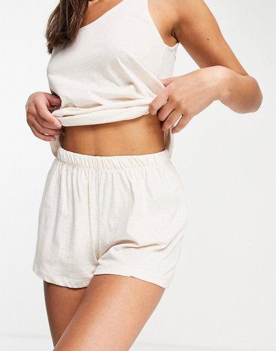 Pigiami Bianco donna Pantaloncini del pigiama in jersey crema - Mix&Match - ASOS DESIGN - Bianco