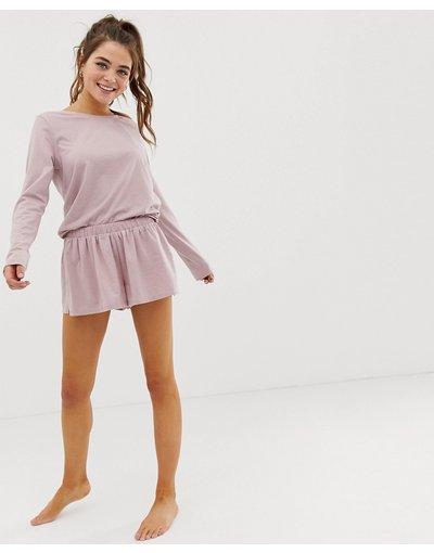 Pigiami Rosa donna Pantaloncini del pigiama in jersey mélange - Mix&match - ASOS DESIGN - Rosa