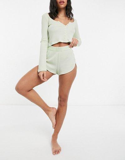 Pigiami Multicolore donna Pantaloncini del pigiama verde lime slavato con elastico in vita - Mix&Match - ASOS DESIGN - Multicolore