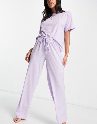 Pigiami Viola donna Pantaloni del pigiama dritti in jersey lilla - Mix&Match - ASOS DESIGN - Viola