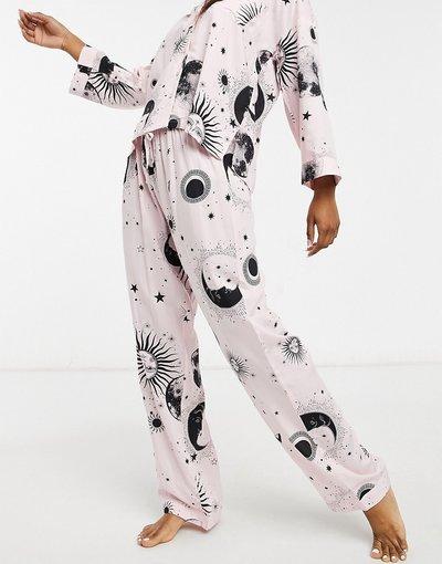 Pigiami Rosa donna Pantaloni del pigiama in 100% modal rosa con stampa astrologia - Mix&Match - ASOS DESIGN