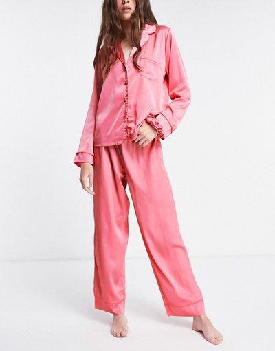 Pigiami Rosa donna Pantaloni del pigiama in raso rosa con profili fluo - Mix&Match - ASOS DESIGN