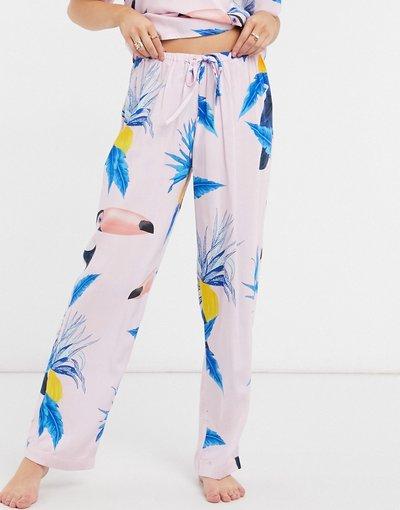 Pigiami Multicolore donna Pantaloni del pigiama rosa con stampa con tucani in 100% modal - ASOS DESIGN Mix&Match - Multicolore