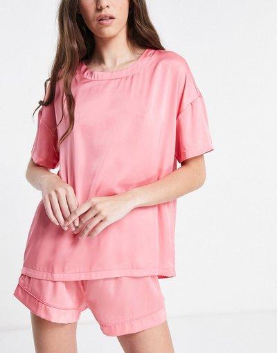 Pigiami Rosa donna shirt del pigiama in raso rosa - Mix&Match - ASOS DESIGN - T
